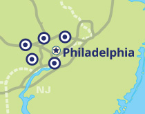 Map showing the Penn State Great Valley, Brandywine, and Abington campuses as well as Lafayette Hill, the Philadelphia Navy Yard, and the surrounding Philadelphia area.